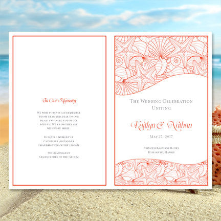 Wedding Program Template Seashells Coral Gray