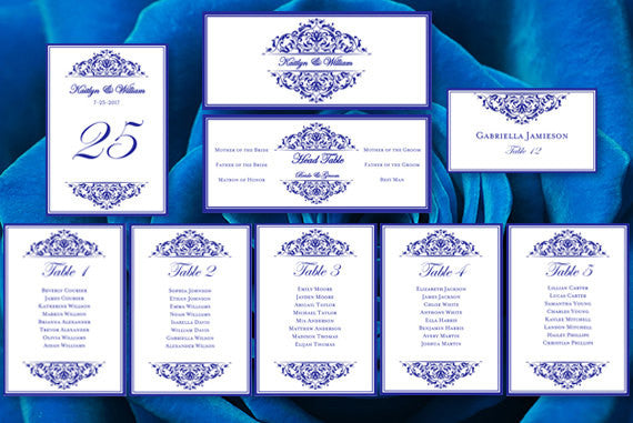 Wedding Seating Chart Set Grace Royal Blue
