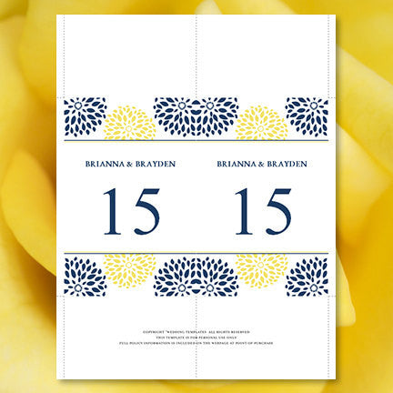 Wedding Table Number Template Floral Petals Navy Yellow Flat
