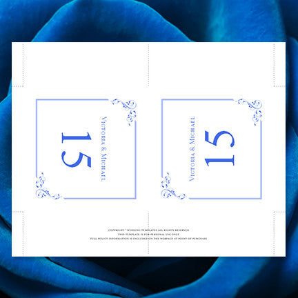 Printable Table Number Template Elegance Royal Blue Tent