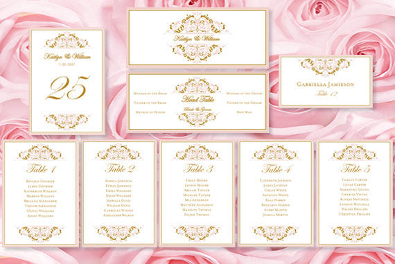 Wedding Seating Chart Set Grace Blush Pink Gold