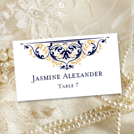 Printable Place Card Template Grace Navy Champagne Gold Tent - Downloadable place card template