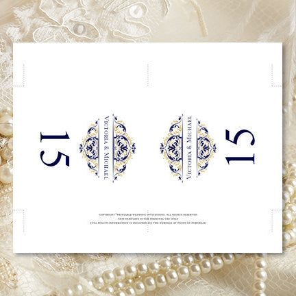 Printable Table Number Template Grace Navy Blue Champagne Tent