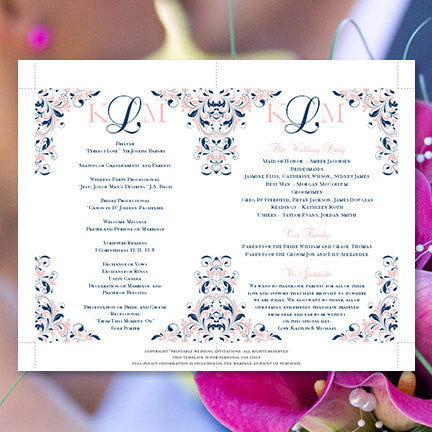 Wedding Program Fan Kaitlyn Navy Blue Blush Pink Monogram