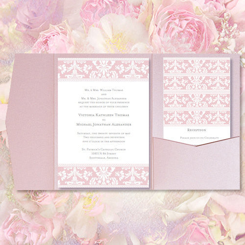 Pocket Fold Wedding Invitations Damask Blush Pink 5x7