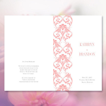 Wedding Program Template Damask Blush Pink