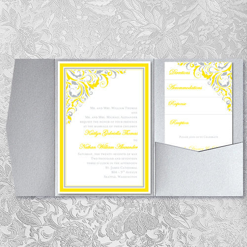 Pocket Invitation Template DIY Printable Wedding Tagged Lemon