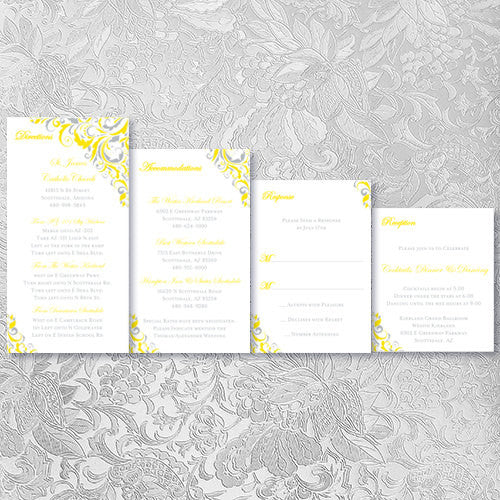 Pocket Fold Wedding Invitations Brooklyn Lemon Yellow Silver Gray 5x7