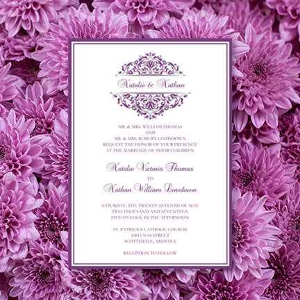 Grace Wedding Invitation Purple