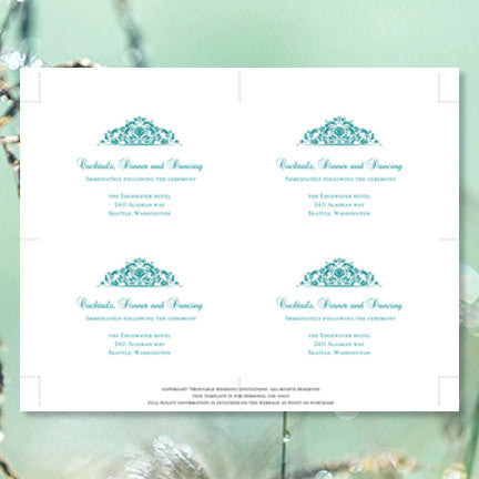 Wedding Reception Invitations Grace Teal