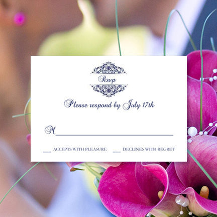 Wedding Response Cards Grace Navy Blue
