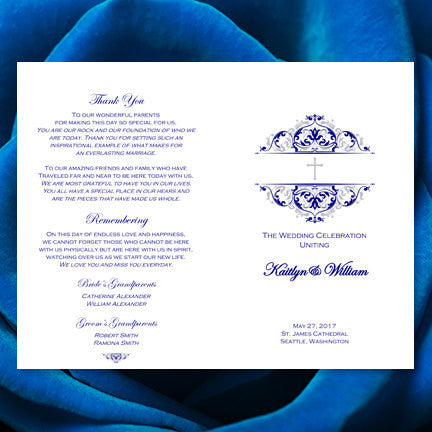 Catholic Church Wedding Program Grace Navy Blue Silver
