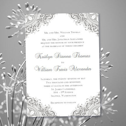 Vintage Wedding Invitation Silver Gray