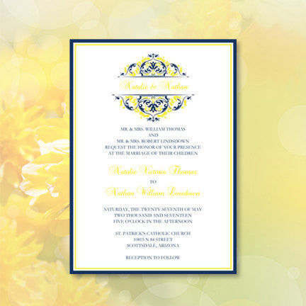 Grace Wedding Invitation Navy Blue Lemon Yellow