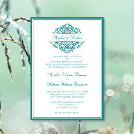 Grace Wedding Invitation Teal