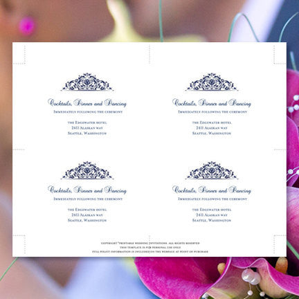 Wedding Reception Invitations Grace Navy Blue
