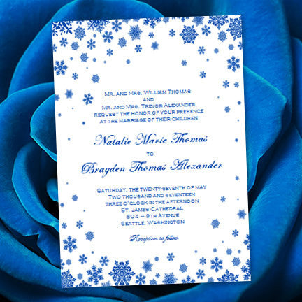 Snowflake Wedding Invitation Cobalt Blue