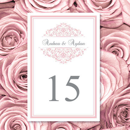 Wedding Table Number Template Grace Blush Pink Flat