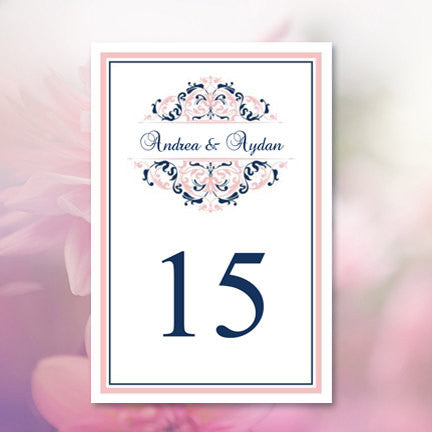 Wedding Table Number Template Grace Blush Pink Navy Blue Flat