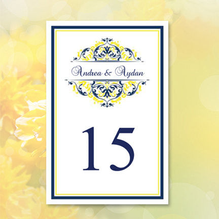 Wedding Table Number Template Grace Navy Blue Yellow Flat