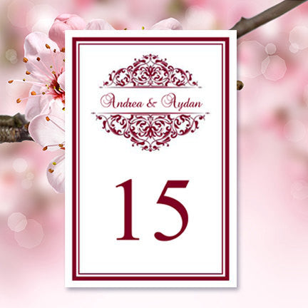 Wedding Table Number Template Grace Burgundy Flat