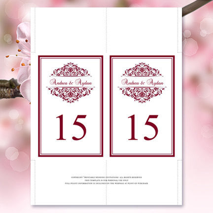 Wedding Table Number Template Grace Burgundy Flat Wedding Template - Table number template