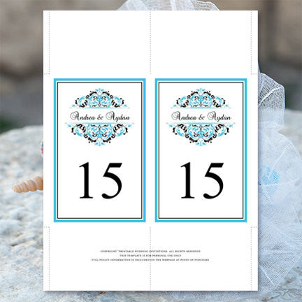Wedding Table Number Template Grace Malibu Blue Black Flat