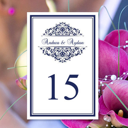 Wedding Table Number Template Grace Navy Blue Flat