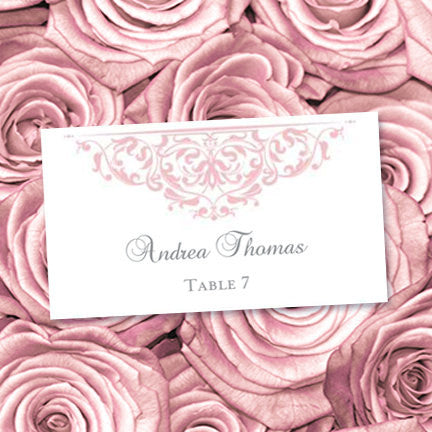 Printable Wedding Place Cards Grace Blush Pink Flat