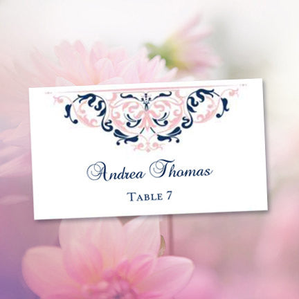 Printable Wedding Place Cards Grace Blush Pink Navy Blue Flat