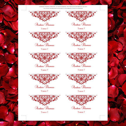 Printable Wedding Place Cards Grace Red Flat