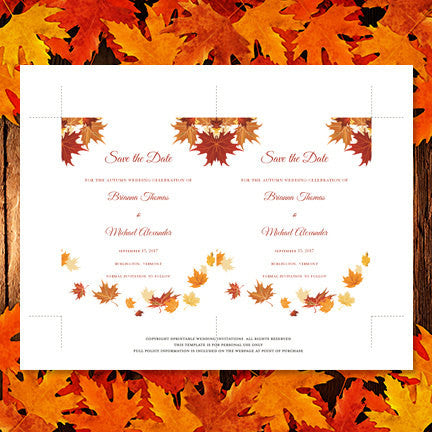 Wedding Save the Date Cards Falling Leaves Red Orange Yellow