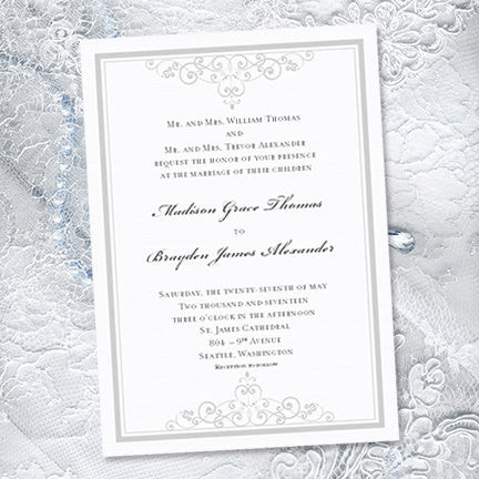 Vintage Wedding Invitation Silver Light Gray