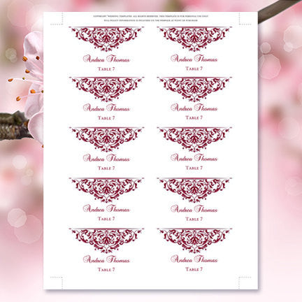 Printable Wedding Place Cards Grace Burgundy Flat