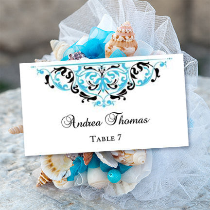 Printable Wedding Place Cards Grace Malibu Blue Black Flat