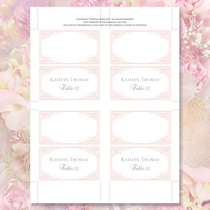 Wedding Seating Card Maria Light Pink Tent