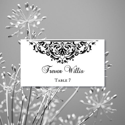 Wedding Seating Card Grace Black Tent