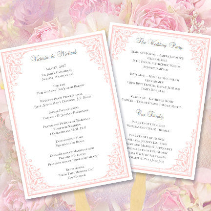 Wedding Program Fan Maria Pink
