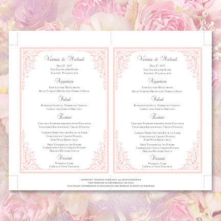 Pink birthday menu template word | psd | apple pages | publisher.