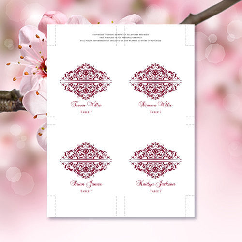 Wedding Seating Card Grace Burgundy Wine Tent