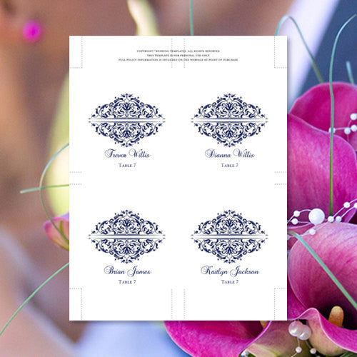 Wedding Seating Card Grace Navy Blue Tent