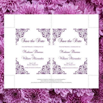 Wedding Save the Date Cards Isabella Purple