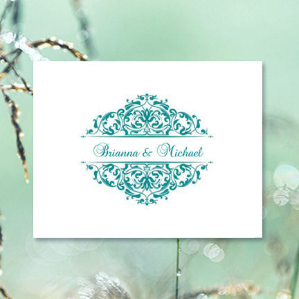 Wedding Thank You Card Grace Teal