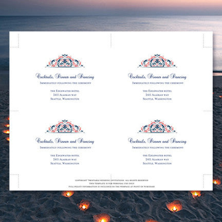 Wedding Reception Invitations Grace Coral Navy Blue