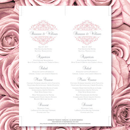Wedding Menu Card Grace Blush Pink Gray Tea Length