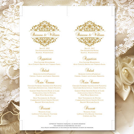 Wedding Menu Card Grace Gold Tea Length