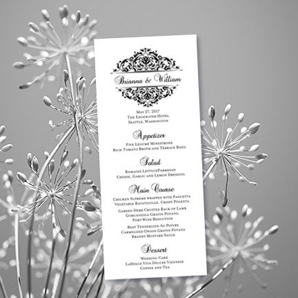 Wedding Menu Card Grace Black Tea Length