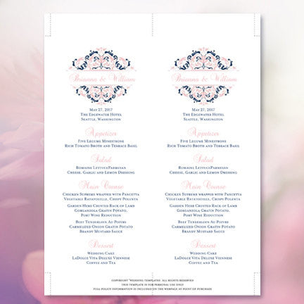 Wedding Menu Card Grace Blush Pink Navy Blue Tea Length
