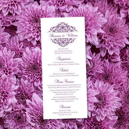 Wedding Menu Card Grace Purple Tea Length