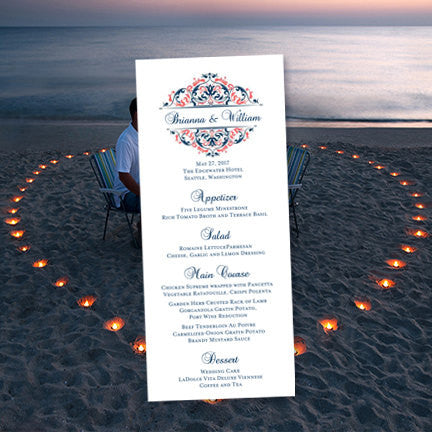 Wedding Menu Card Grace Coral Navy Blue Tea Length